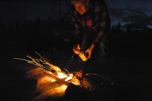 Starting the Campfire - Waldy Lookout, Idaho